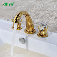 KINSE European Art Style Krystal Golden Color Basin Faucet Classic Ti PVD Finish Deck Mount Basin