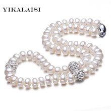 YIKALAISI 925 sterling Silver Button Natural Freshwater Pearl Chokers Necklace Jewelry For Women Crystal Ball 45cm Length