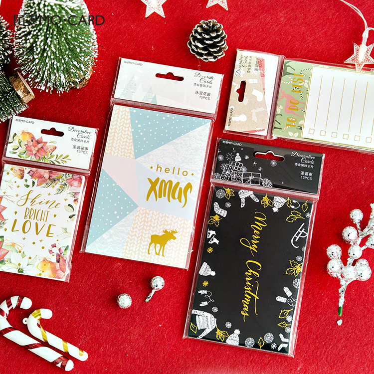 12pcs/pack Chritmas Bronzing Creative Letter Pads Flowers Christmas Eve Lomo Card Cute Gift Card Kawaii Stationery