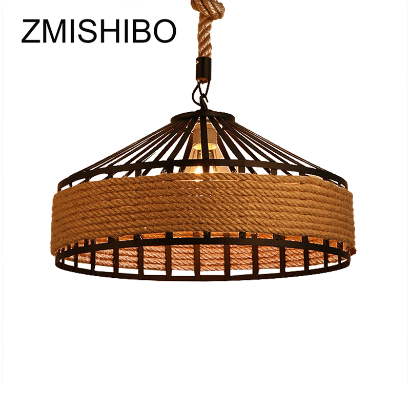 ZMISHIBO Round Iron Hemp Rope Pendant Lights Luminary Country Style E27 Lamp For Dining Room Lighting Fixtures Pendant Lamp gzmj rope vintage pendant lights hanging lamp hand knitted hemp round loft iron ball american country fixtures for restaurants