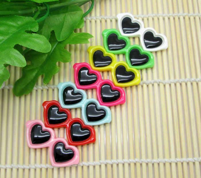 Cristales de corazón mezclados LF 30 uds, decoración de resina con parte posterior plana, adorno de cabujón para manualidades, álbum de recortes, accesorios Diy
