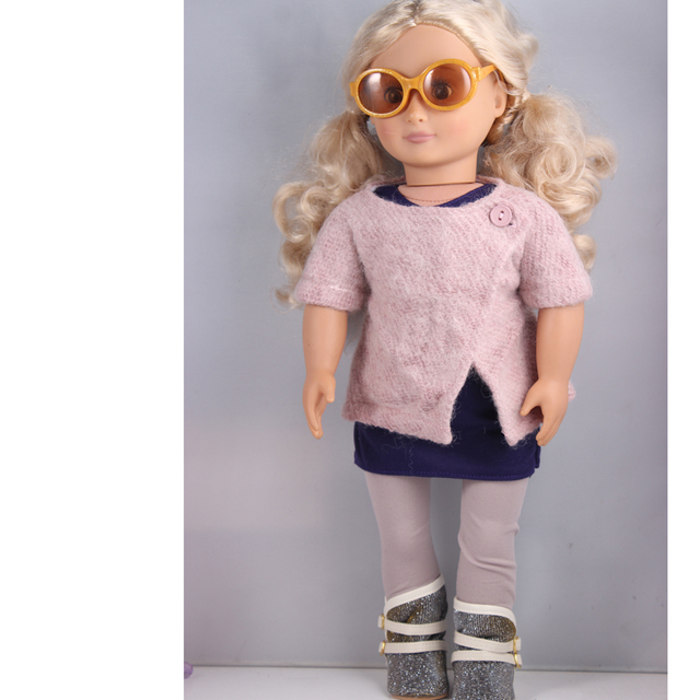 1pair of sunglasses ,1 knit coat ,1 dress , 1 pair of tights, 1 boots , American Girl Doll Clothes Children Best Gift AG688