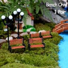 1 par de taburetes de banco en miniatura, silla de resina con micropaisajes, artesanía, bonsái de suculenta, silla de parque de muñecas, decoración de figuritas