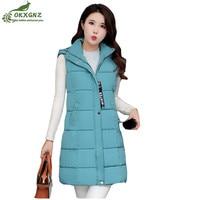Autumn winter new vest Outerwear female mid length hair ball vest down jacket coat women hooded large size jacket coat OKXGNZ