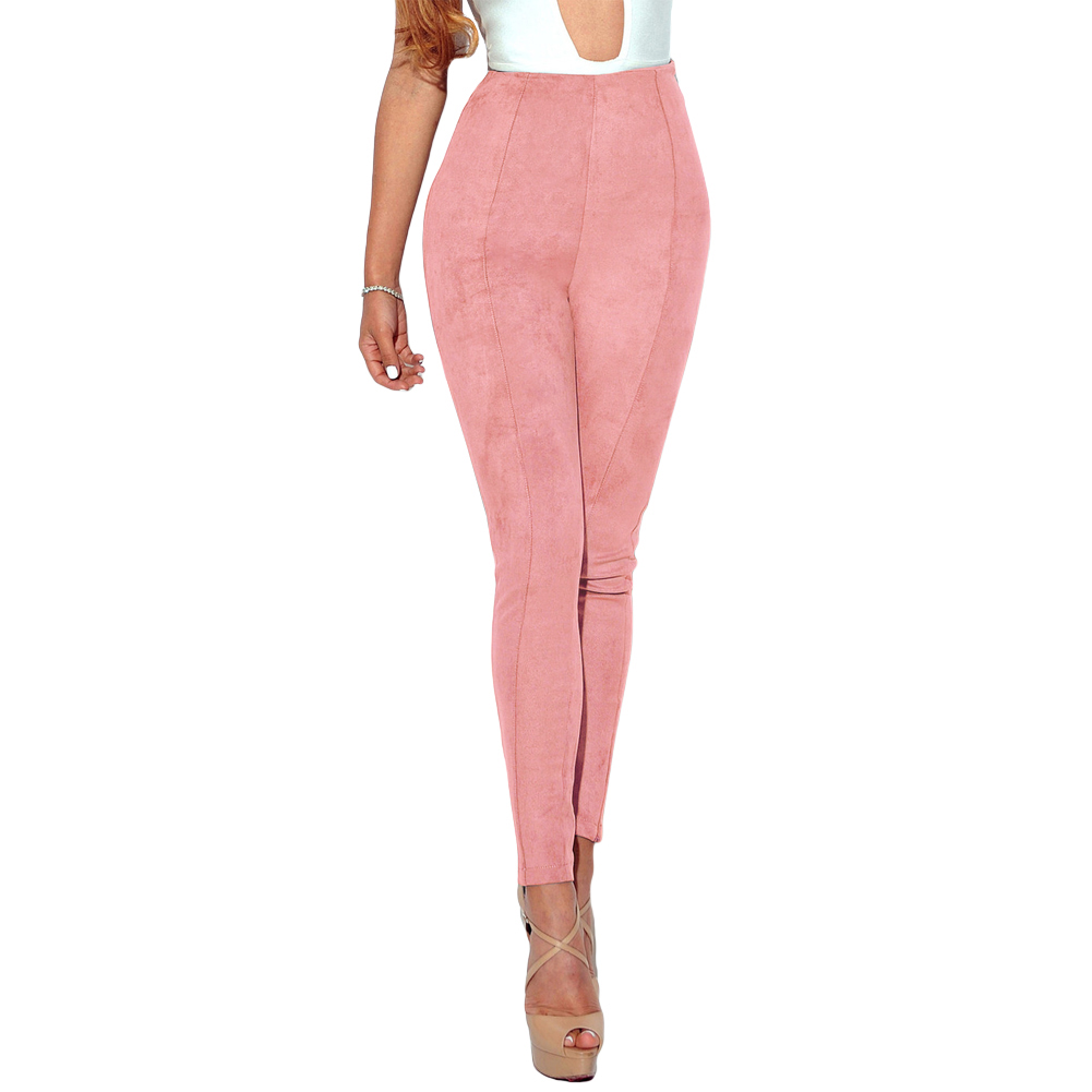2017 Sexy Women Lulu Faux Suede Leggings Solid High Waist Skinny Pants Push Up Bodycon Pencil Trousers Winter Pantalon Femme XL