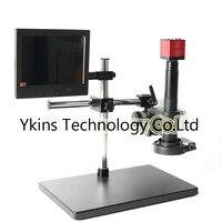 HD 1080 P HDMI VGA Цифровые микроскопы Камера + бум держатель Универсальный держатель + 180X/300X C MOUNT объектив + 144 светодиодный свет + 8 ЖК дисплей