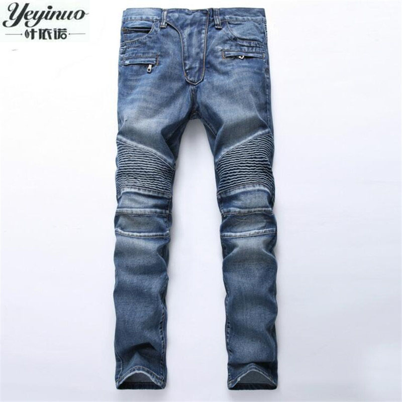 European American Style 2017 Men's jeans slim denim trousers jeans fashion brand luxury Straight blue punk slim men jeans for