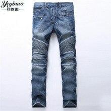 Europäischen Amerikanischen Stil 2017 männer slim jeans denim-hosen jeans mode marke luxus Gerade blau punk schlanke männer jeans für