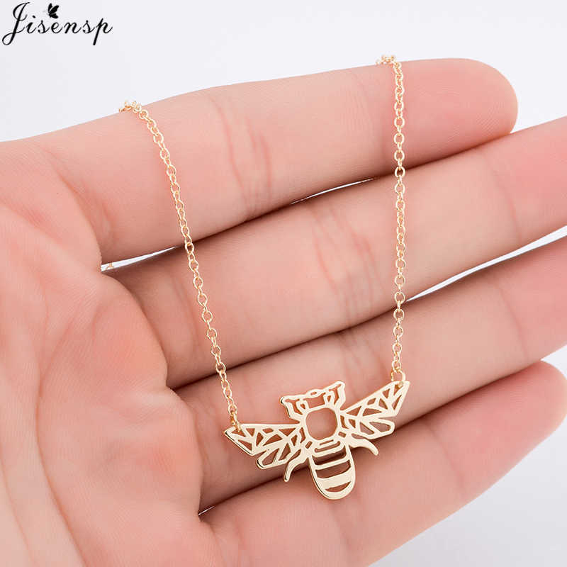 Jisensp Dainty Feminine Gold Bee Animal Pendants Necklace for Women Everyday Jewelry Origami Bee Necklace Minimalist Party Gifts