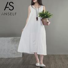 2019 Summer Women Casual Shirt Dress Loose Knee-Length dresses big size Sleeveless O-Neck Solid Sundress Oversized 3XL 4XL 5XL