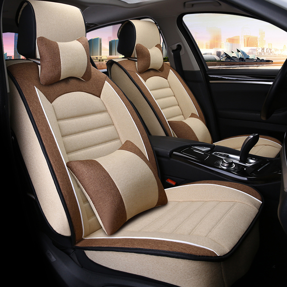 Breathable Soft Comfortable Linen Fabric Car Seat Cover Universal Luxury Automobiles Seat Covers