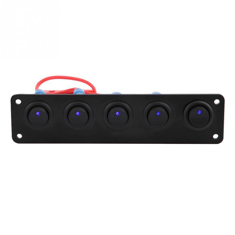 Rocker Switch Panel 5 Gang Round Dash Rocker Toggle Switch Panel Blue LED 12-24V for RV Boat Yacht Marine