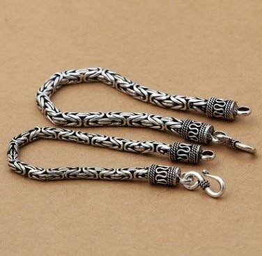 100% bracelet en argent véritable pour hommes 5mm 20 cm bracelet pour hommes en argent 925 livraison gratuite