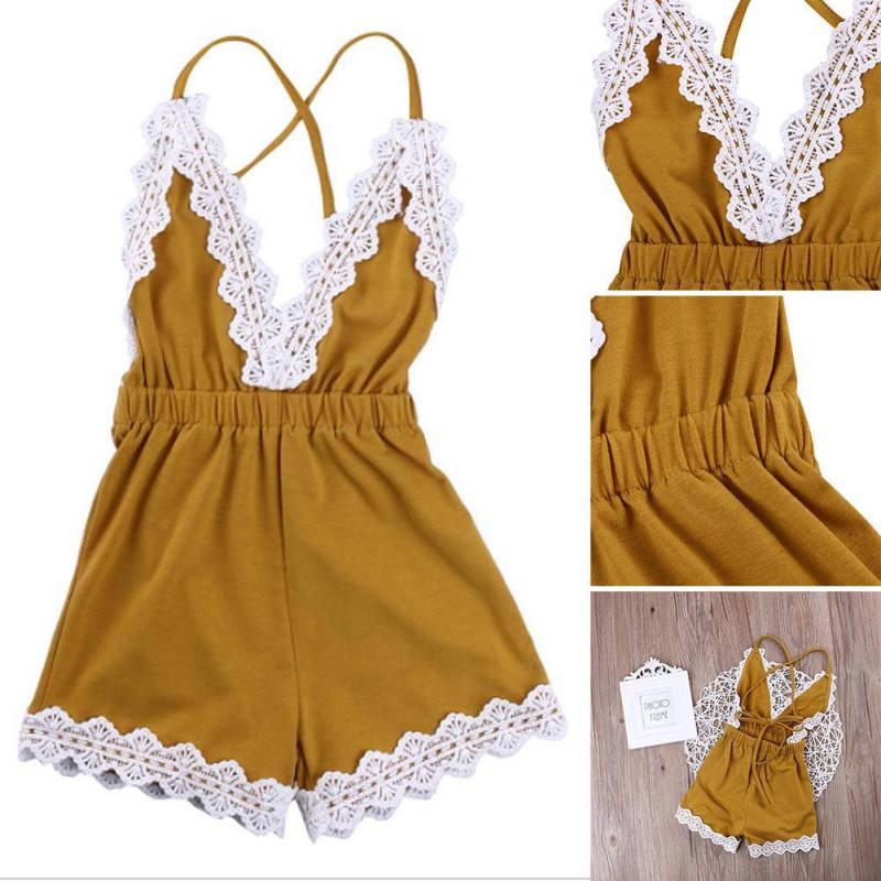 Детская одежда для малышей для девочек комбинезон без рукавов Кружево комбинезон одежда из хлопка ...