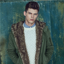 2017 Winter Jacket Men Casual Parkas Fur Collar thickening Trench Coats Plus Size Green Male Outwear Clothes B216
