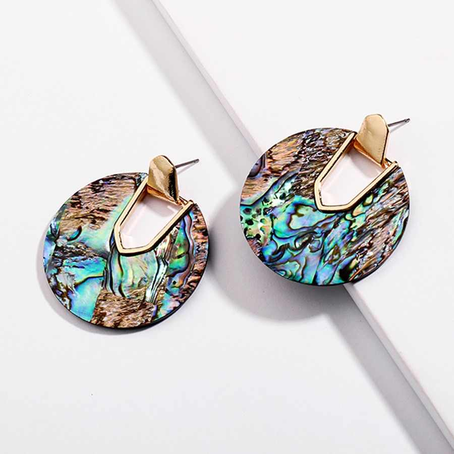 Colorful Resin Acrylic Round Dangle Earrings for Women Unique Design U Shape Statement abalone shell Earrings Wedding Jewelry