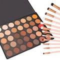 Gran Pigmento! lo nuevo 35 Colores Paleta de Sombra de Ojos Profesional Sombra de Ojos Mate Shimmer Maquillaje Cosmético Belleza Conjunto 12 unids Cepillo