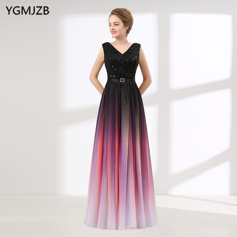 Gradient Color Long Evening Dress A Line V Neck Glitter Chiffon Floor Length Women Evening Party Dresses Robe De Soiree