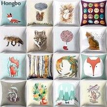 Hongbo 1 Pcs Cartoon Fox Flower Print Square Throw Pillow Cushion Case Covers