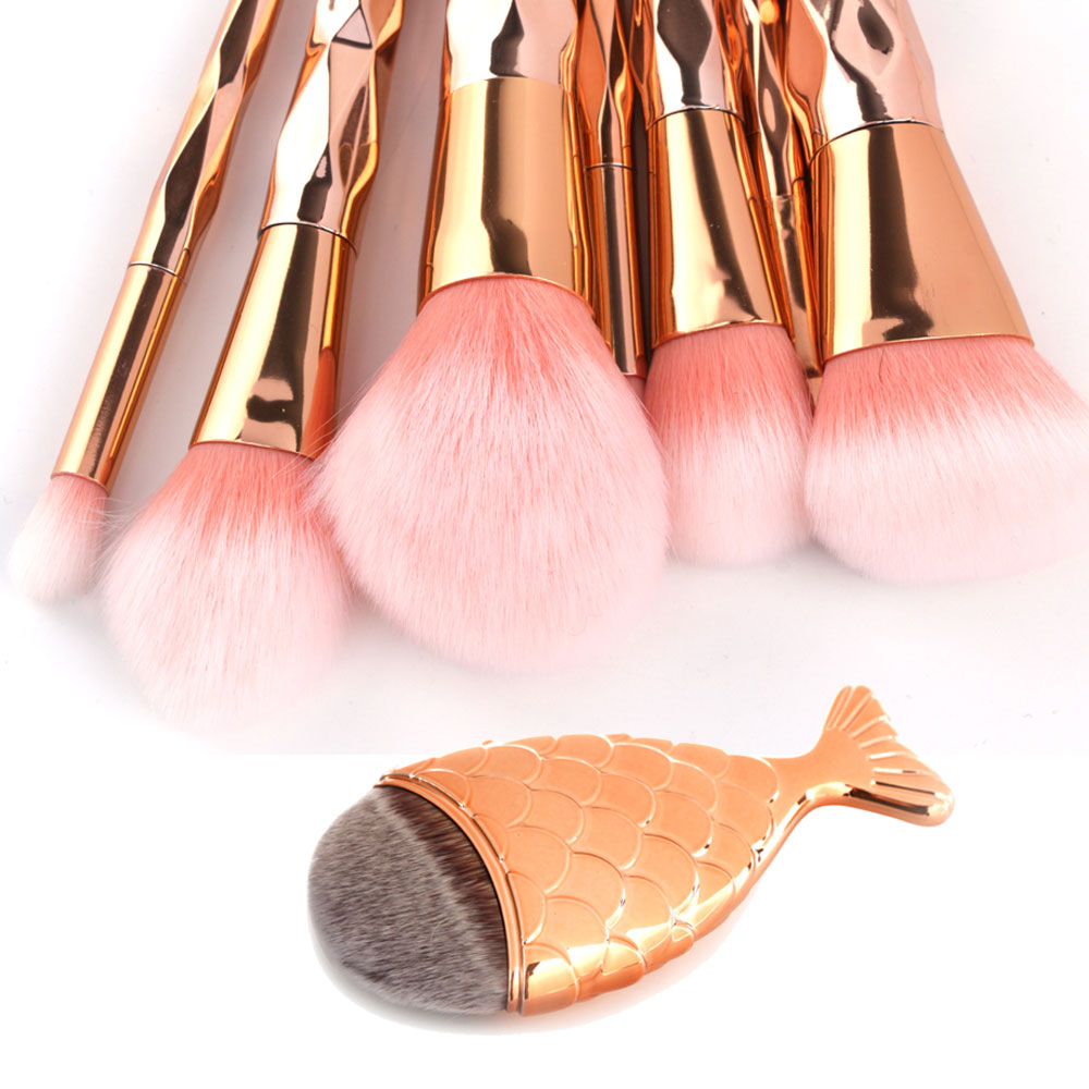 7/8Pcs Diamond Rose Gold Makeup Brushes Set Foundation Powder Blend Blush Eye Shadow Lip Mermaid Brush Cosmetic Beauty Tool Kit 11pcs diamond rose gold makeup brush set mermaid fishtail shaped foundation powder cosmetics brushes rainbow eyeshadow brush kit