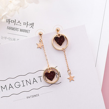 Glittering Love Heart Asymmetry Earrings