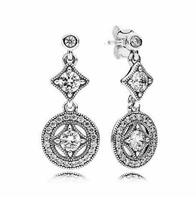 Hot Sale 925 Sterling Silver Vintage Allure Pan Stud Earrings With Clear Cz For Women Original