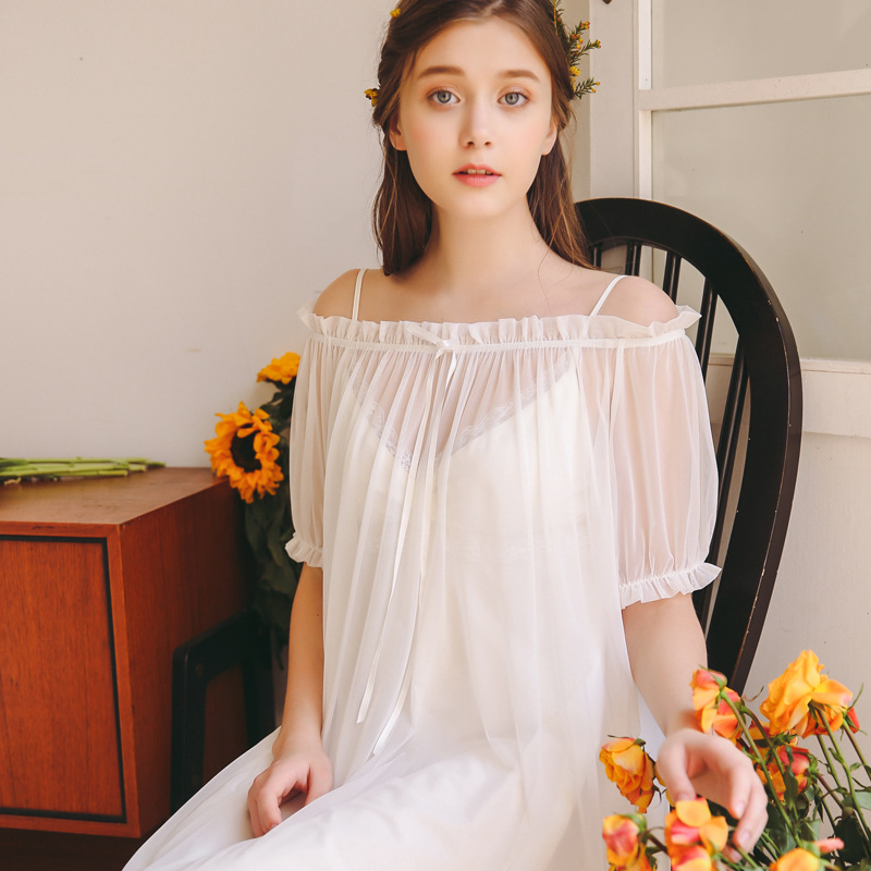 2019 White Pink   Nightgowns     Sleepshirts   Women Short Sleeve Nightdress Summer Sleepwear Palace Princess Sleeping Plus size Dress