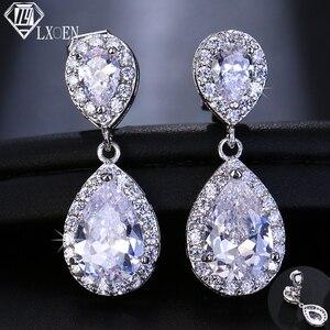 LXOEN Fashion Jewllery Drop Zircon Clip Earrings Without Piercing Puncture Earring for Women Wedding Jewelry Water Drop(China)