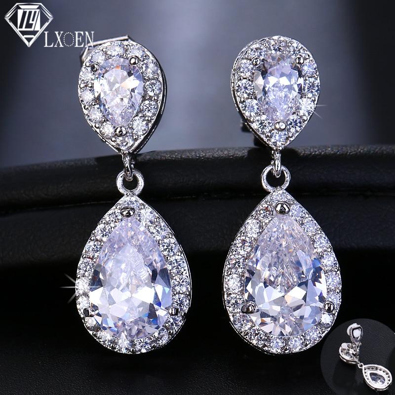 LXOEN Fashion Jewllery Silver Drop Zircon Clip Earrings Without Piercing Puncture Earring for Women Wedding Jewelry Water Drop