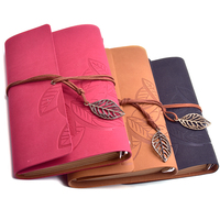 Guoyi Q66 Retro Stationery Notepad Leather Cover Leaves Interface Office School Supplies Writing Pads Notebook