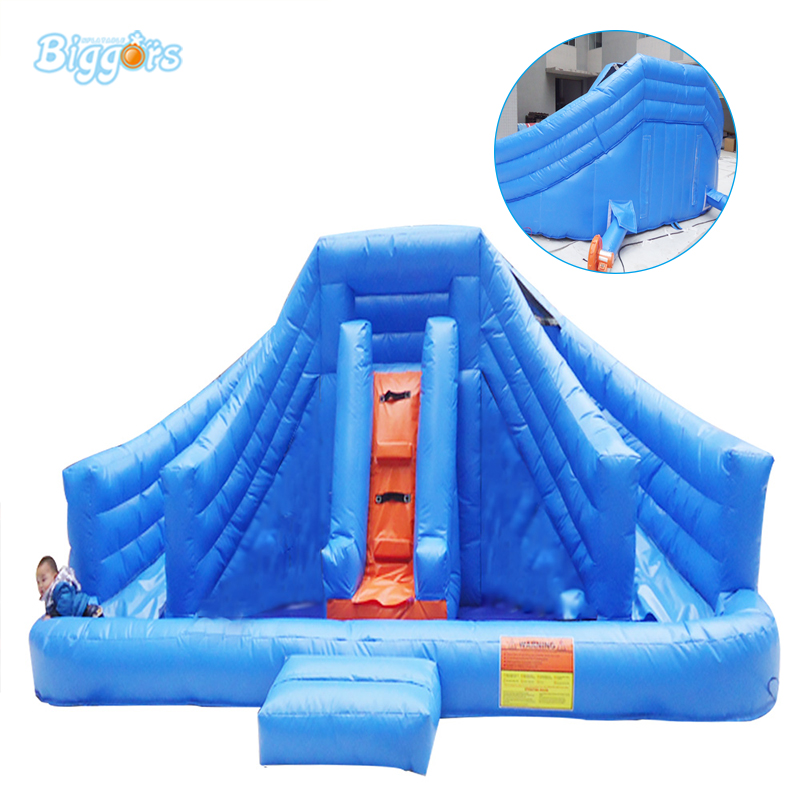 Inflatable Biggors Inflatable Water Slide With Pool For Sale Blue Large Commercial Rental commercial sea inflatable blue water slide with pool and arch for kids