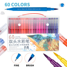 купить 60Color Dual Tip Brush Pen Art Marker Watercolor Pens Fine Liner and Brush for Coloring Book Drawing Painting Calligraphy Pen по цене 1389.69 рублей