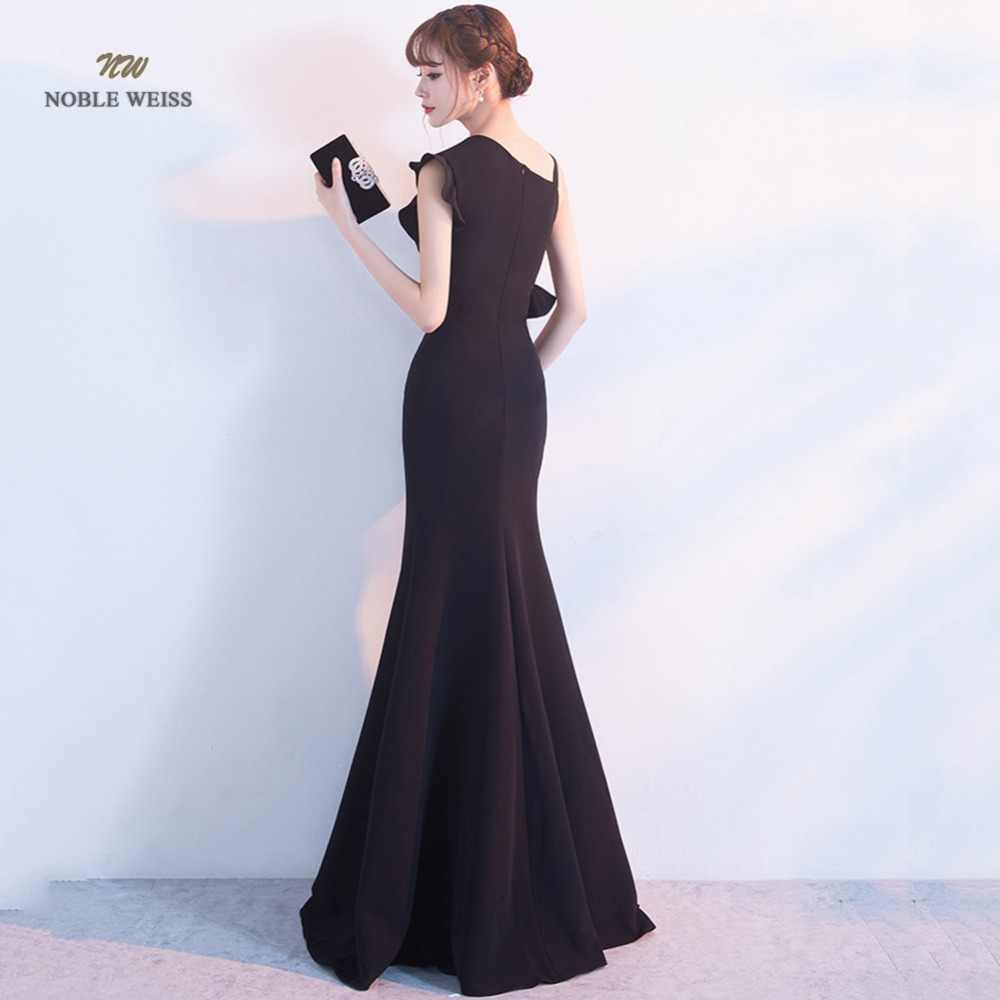 Robe De Soiree zarif uzun akşam elbise Mermaid siyah parti saten Maxi elbise balo elbisesi