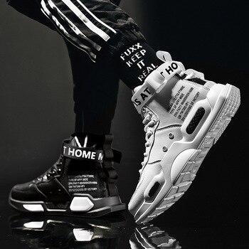 Кроссовки мужские кожаные высокие, уличная Нескользящая удобная повседневная обувь, дышащие