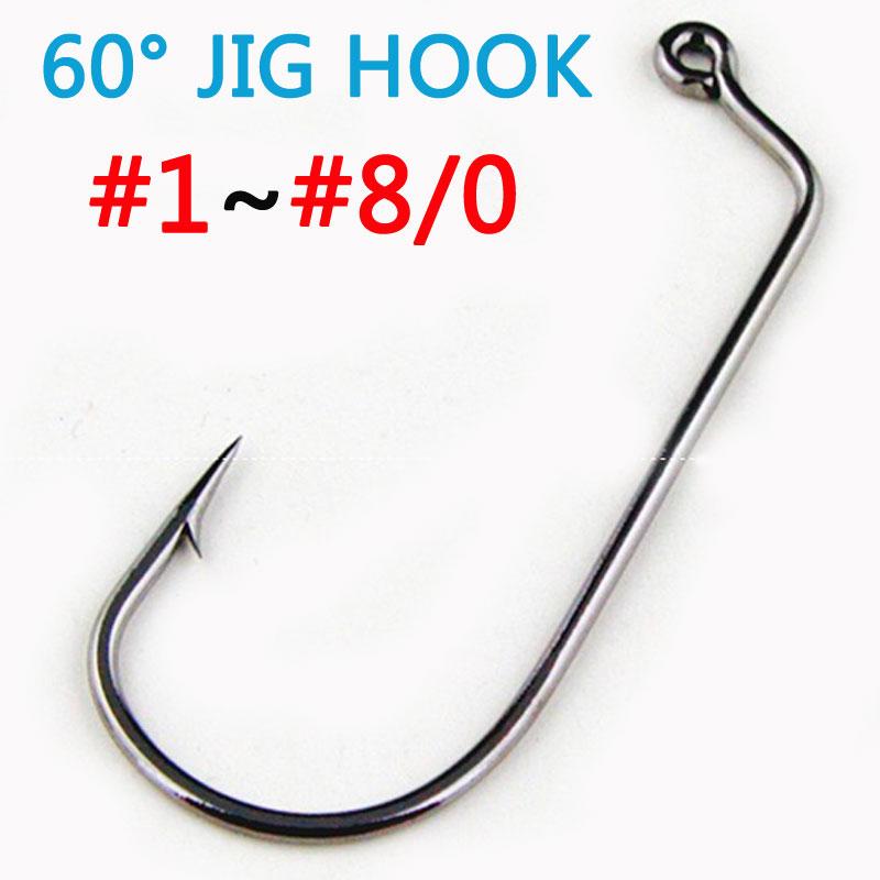 Lures Pro 50 PCs Jig Hooks Fishing Worm Hooks Tackles 1//0 2//0 3//0 4//0 5//0