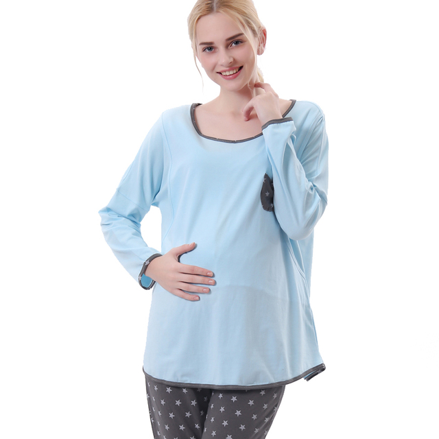 New fashion women maternity cotton t-shirt big size nursing clothes sets tracksuit sets breasting clothes gray and blue L,XL,XXL