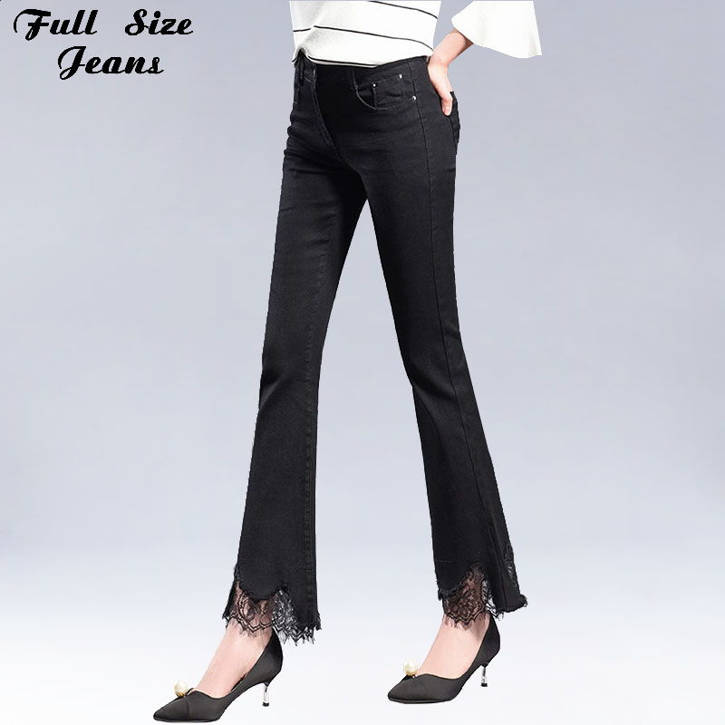 Plus Size Sexy Black Stretch Flare Jeans Lace Bottoms 5Xl 6Xl 7Xl Oversized Slim Fit Skinny Denim Pants With Wide Leg inc petite new black skinny leg regular fit pants 10p $59 5