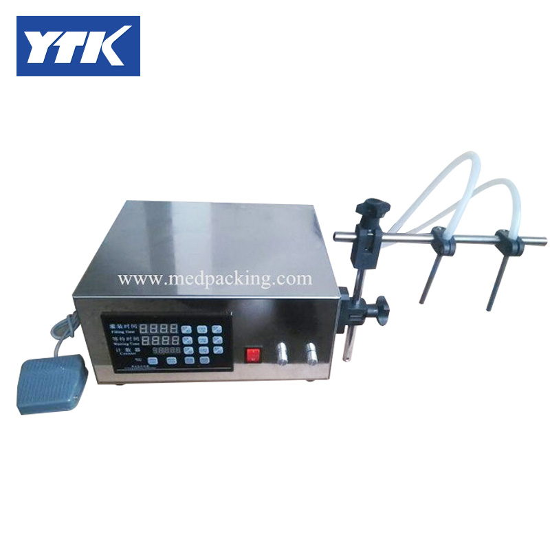 YTK 3-3000ml Double Head Water Softdrink Liquid Filling Machine Digital Control.Max Flow Rate (L/min): 3.2 Grind
