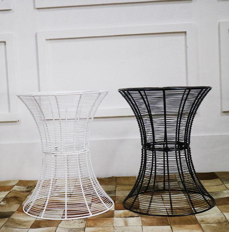 Metal Wire Tea Table Simple and Modern Solid Iron Round Table Living Room Creative Coffee Table coffee table simple modern creative small coffee table round folding tea table small size living room wood tea table