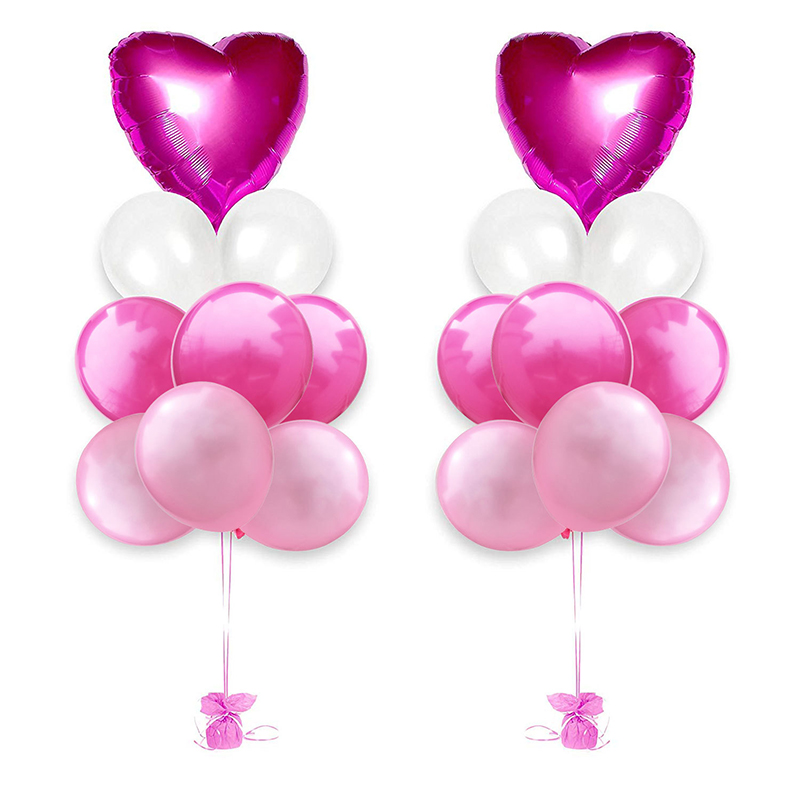 18Pcs Wedding Party Decoration Rose Gold Red Balloons Heart Foil Balloons Happy Birthday Latex Balloons Kids Favors Baby Shower in Ballons Accessories from Home Garden
