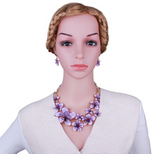 FARLENA Wedding Jewelry Hand Painted Color Flower Necklace Earrings set for Bridal Fashion Rhinestones Jewelry set