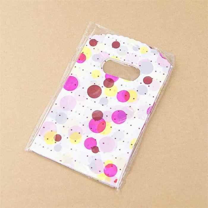 100 pz/lotto 14X9CM Sacchetti di Imballaggio di Plastica Con Manico Piccolo Regalo Borse di Stoccaggio A Casa
