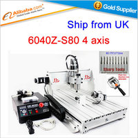 Shipping From UK No Tax Cnc Milling Machine CNC 6040Z S80 4 Axis Engraving Machine 6040