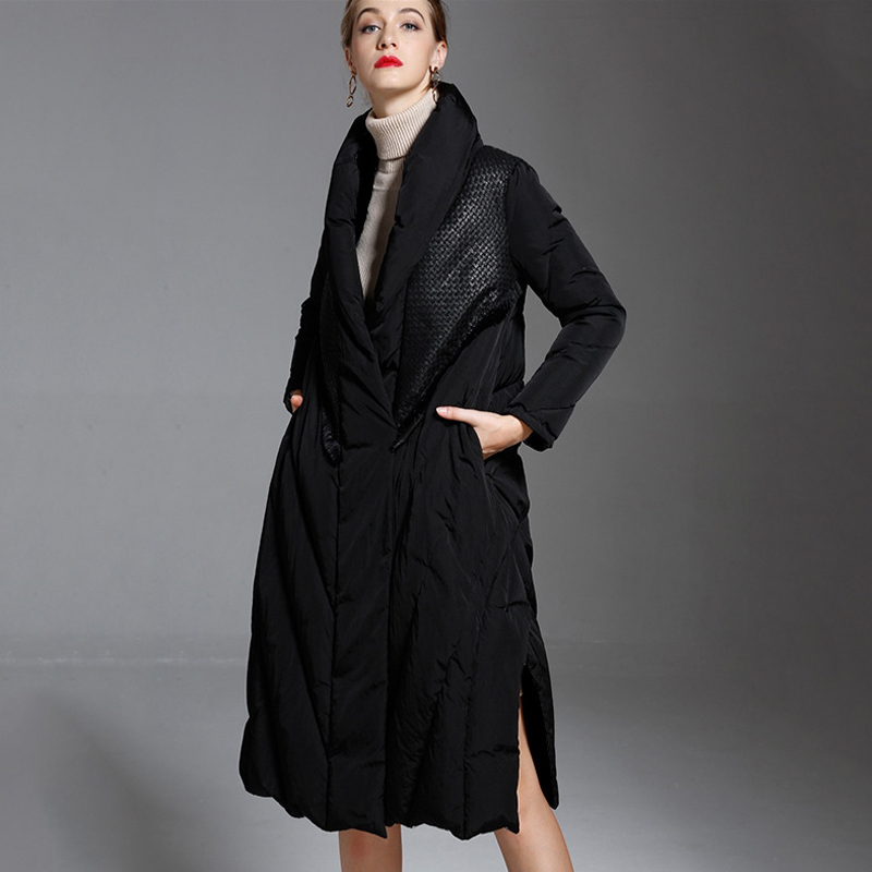 Canard Outwears De Vintage Épaissir Qualité Hiver Manteau 2018 Le Vers Veste Bas Femmes Femme Chaud Duvet O741 Haute Noir Ynzzu Blanc Long 5qw7T7
