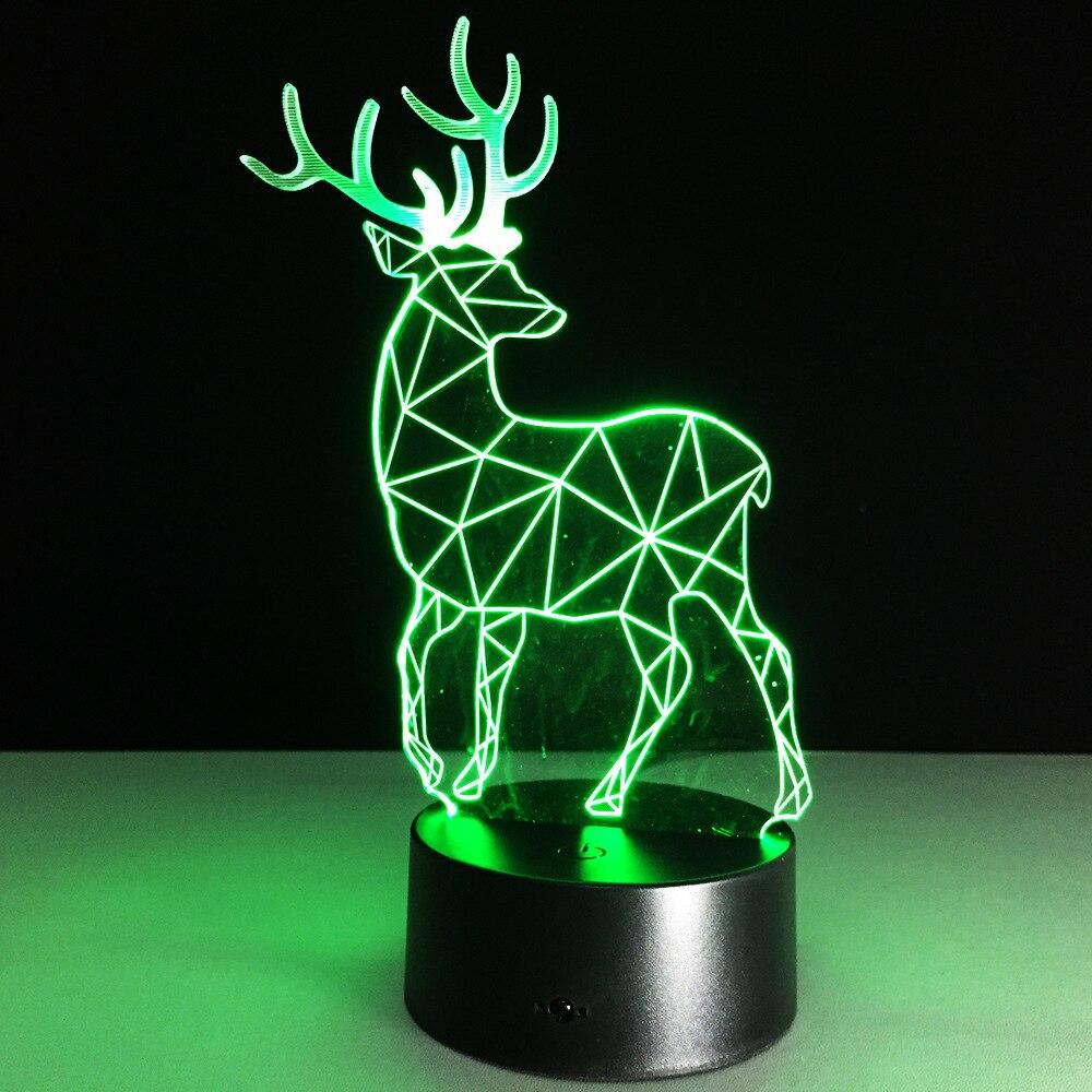 2019 Yenilik 3D Görsel Led Gece Lambası Ren Geyiği Şekli USB Masa - Gece Lambası - Fotoğraf 3