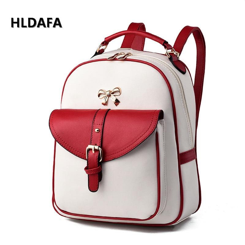 HLDAFA Women Backpacks PU Leather Shoulder Bag New Tide Female Backpack Solid Bag Students Fashion Casual