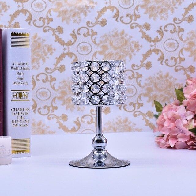 Peandim Luxury Crystal Silver Centerpieces Decoration Candle Holder Party Bar Home Romantic Candelabra Centerpiece 4