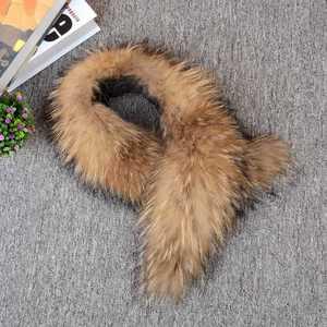 Image 3 - 2018 Natural Fur Collar Scarf 80 cm 120 cm Genuine 100% Thick Long Fur Raccoon Scarves Women Winter Coat Neck Warm Fur Collars