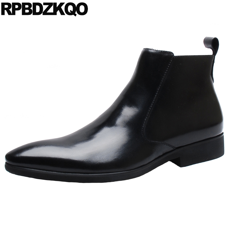 Zipper Real Leather Winter Booties Burgundy Mens Pointed Toe Dress Boots Ankle Fur Formal Black Full Grain Shoes Genuine Party цены онлайн