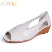 AIYUQI Womens sandals genuine leather 2019 new summer wedge large size womens shoes casual big mom